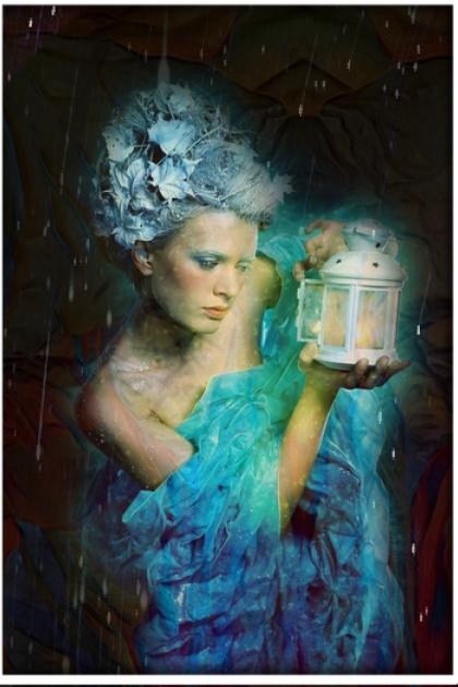 A girl with a lantern