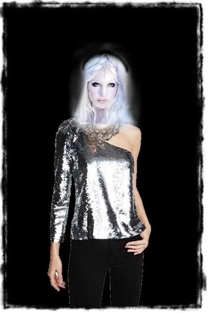 An outfit in silvery