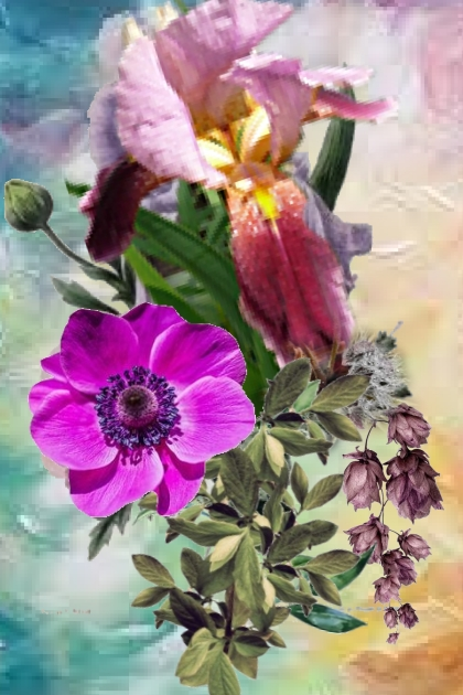 A bouquet in lilac tones