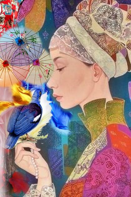 A girl with a blue bird