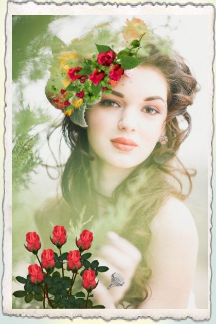 A beauty with red roses