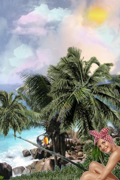 On a tropical beach