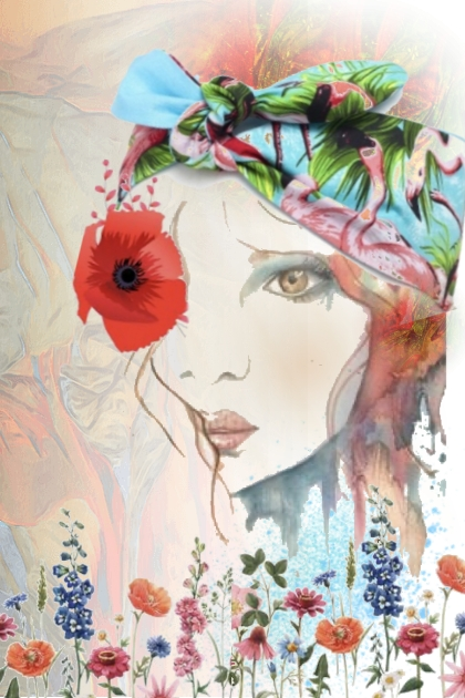 A girl with a poppy