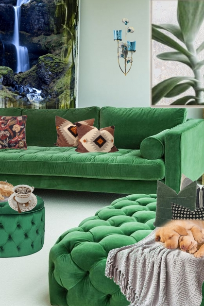 A living room in green 2
