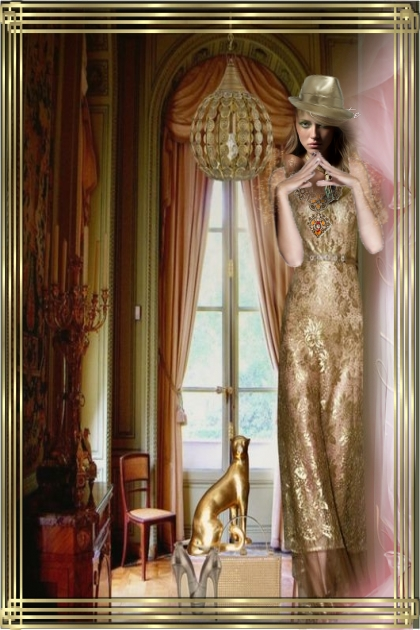 A lady in a golden dress 2