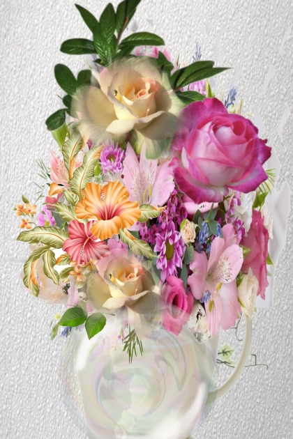 A bright mix in a white vase