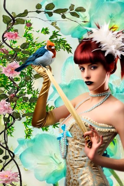 A girl with a bird 2