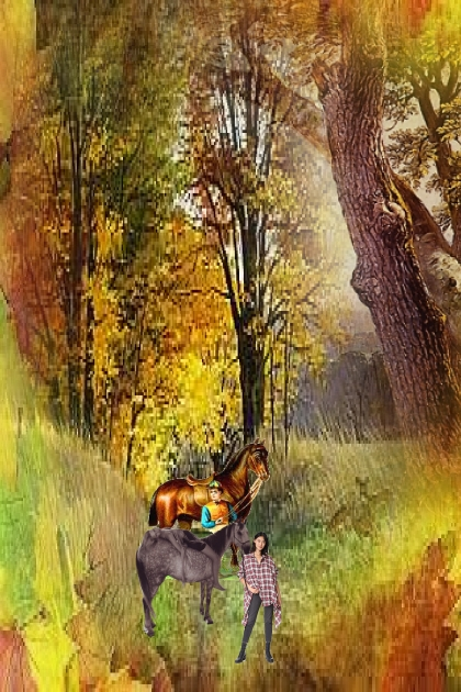 Horse ride through the autumn forest