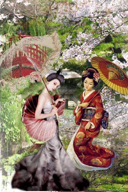 In a sakura garden