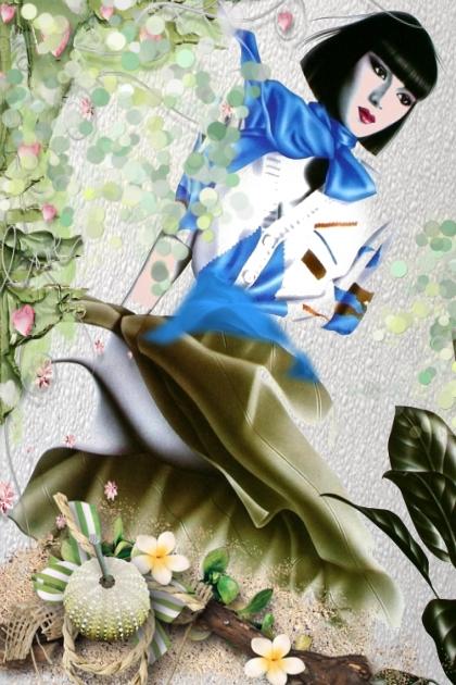 White blouse, blue scarf