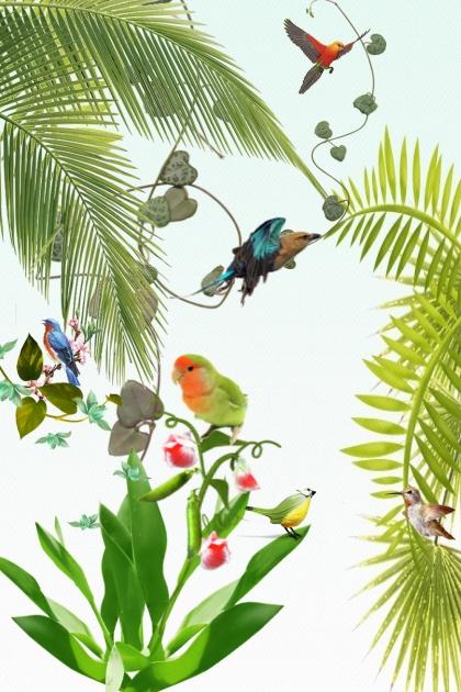 Birds among palms