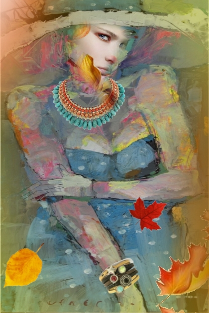 Lady in a dot blue dress