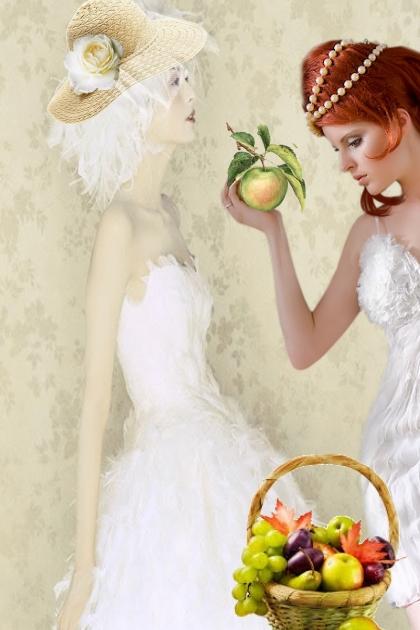 White decollete dresses
