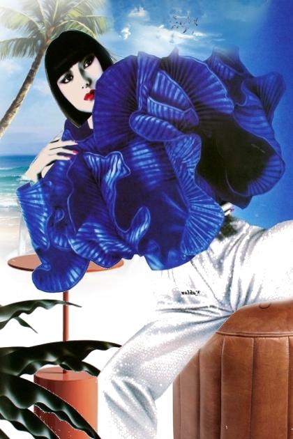 Blue flounce blouse