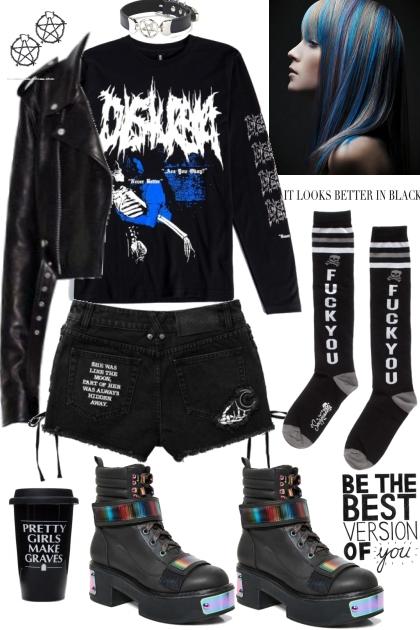 Joan Queens grunge black&blue&white mood- Combinazione di moda