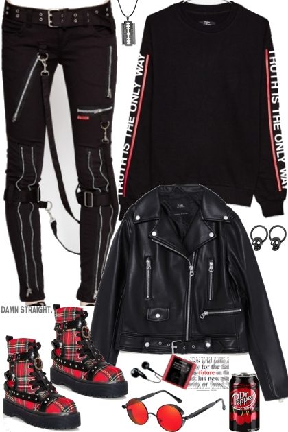 Black&red grunge attitude by JoanQueens