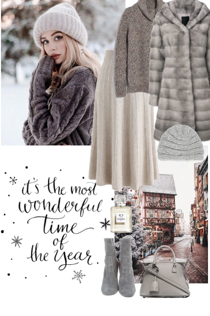 Winter in grey tones- Fashion set