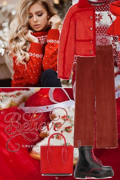 Red winter look