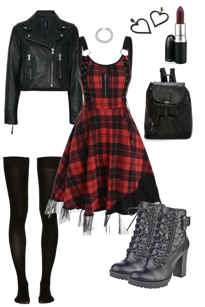 Plaid dress and leather jacket