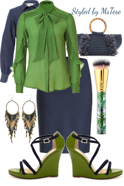 Navy Blue and Green
