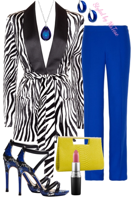 Zebra & Royal Blue- Fashion set