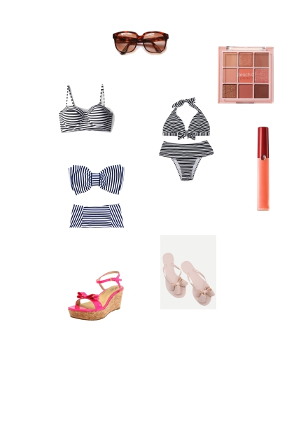 barbie inspired stripped swim wear