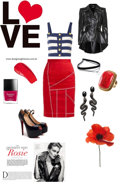 Edgy look with bright red dress