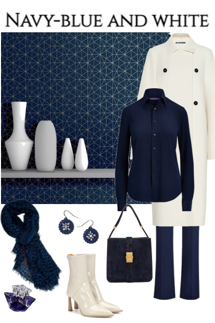 Navy-blue and white