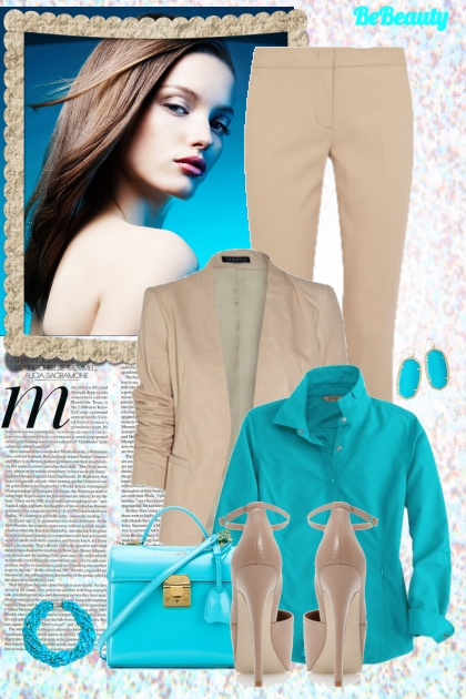 nr 304 - Aqua blue and beige