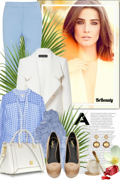 nr 389 - White & Blue- Combinaciónde moda