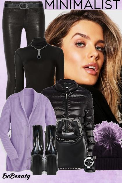 nr 488 - Black - Lilac- Modna kombinacija
