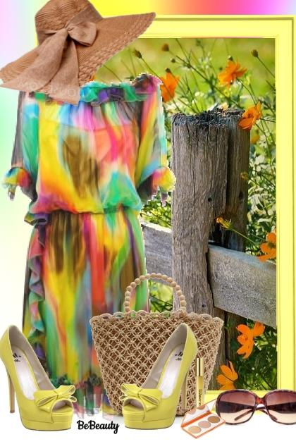 nr 1079 - Colorful dress- Modna kombinacija