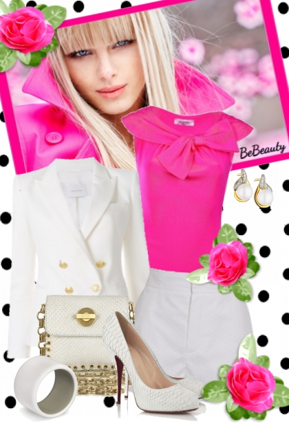 nr 1587 - White & hot pink