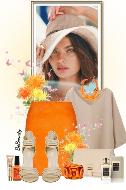 nr 1676 - Beige & orange- Fashion set
