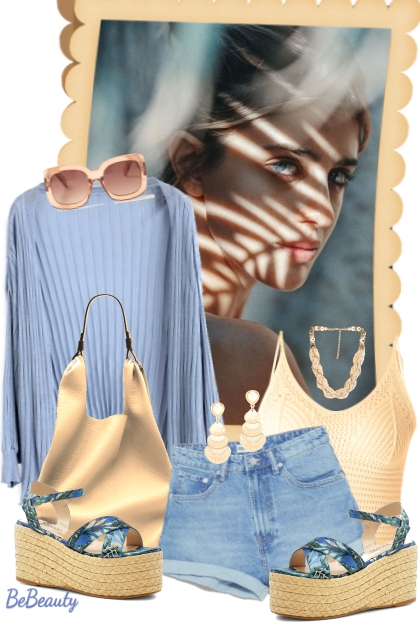 nr 1680 - Blue & beige- Fashion set