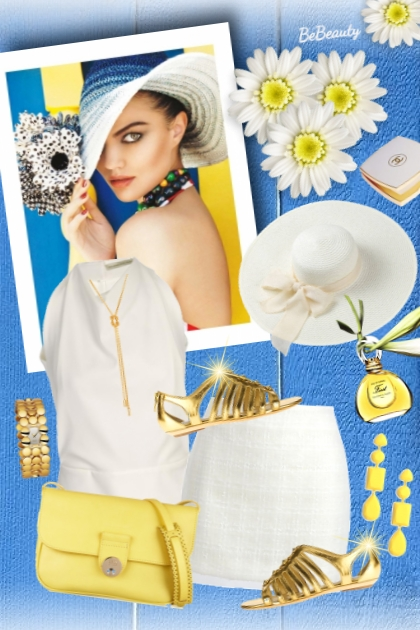 nr 1691 - White-gold-yellow- Fashion set