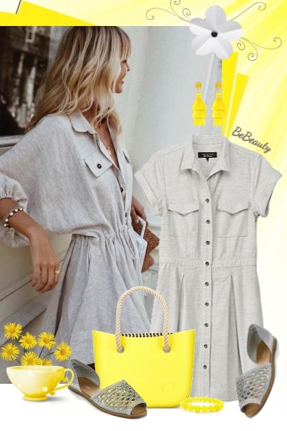 nr 1719 - Mini grey shirt dress