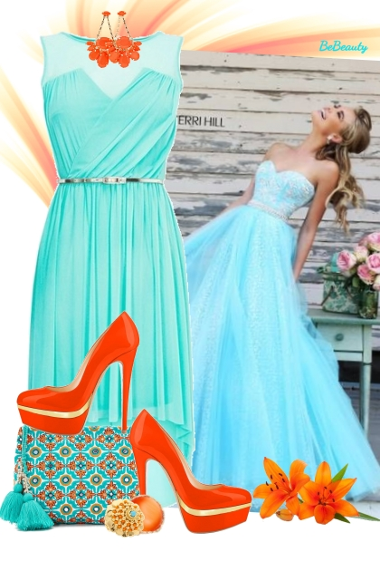 nr 1754 - Aqua blue & orange chic