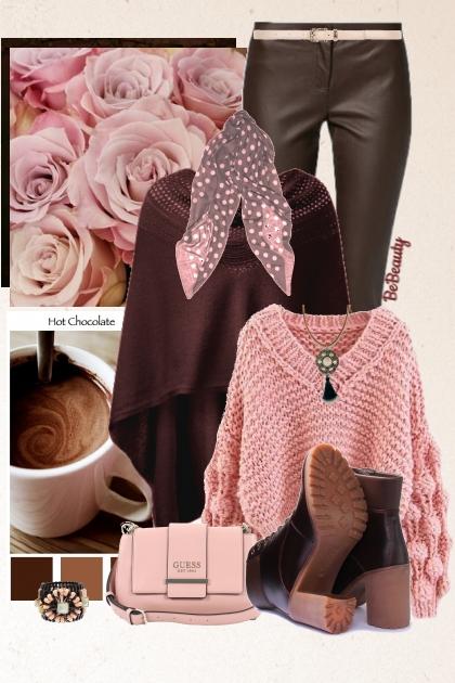 nr 1847 - Dusty rose & dark brown