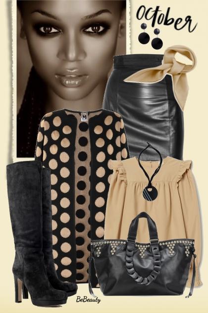nr 2041 - Beige & black