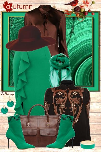 nr 2084 - Malachite green & chocolate brown