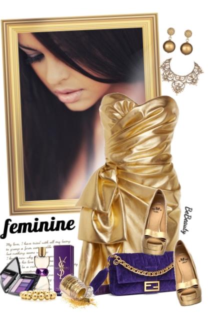 nr 2407 - Golden dress- Combinaciónde moda