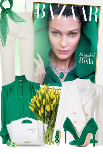 nr 2413 - Spring chic in white and green- Fashion set