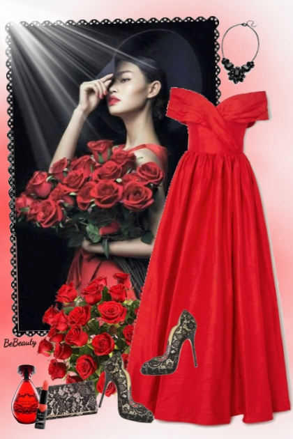 nr 2414 - Lady in red- Combinaciónde moda