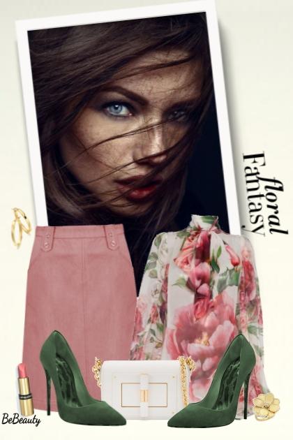 nr 2432 - Floral fantasy- Modna kombinacija