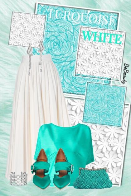 nr 2454 - Turquoise & white