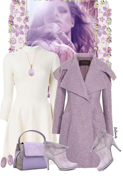 nr 2515 - Lilac & white- Modna kombinacija