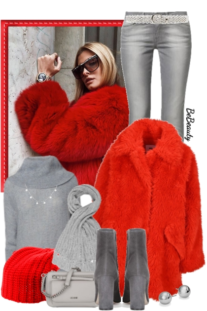 nr 2594 - Red faux fur