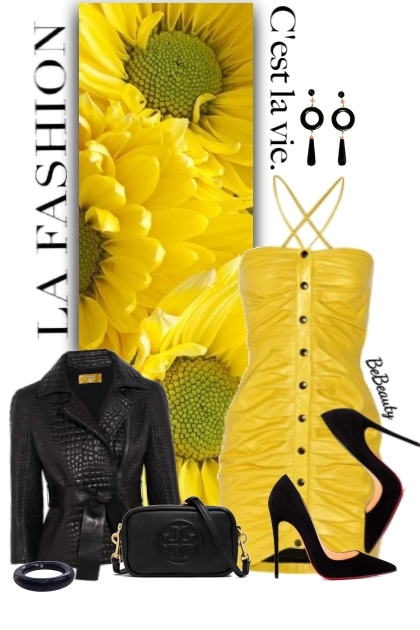 nr 2601 - Yellow leather dress