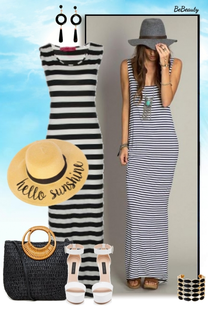 nr 2865 - Striped maxi dress